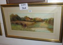 George Oyston (Exh 1891-97) - A framed and glazed watercolour Elstead Bridge, Nr Godalming Surrey signed (9'' x 20'' approx) est: £120-£160