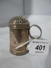 A possibly Georgian pepper pot hallmarks rubbed est: £20-£30