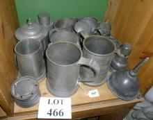 A collection of eighteen pieces of old pewter to include inkwell, tea caddy, funnel, mugs etc est: £50-£80 (F21)