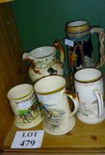Five assorted musical jugs est: £50-£80 (F25)