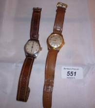 A Diamor and Tissot gentlemen's wristwatches both with leather straps est: £30-£50