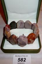 630cts natural Jasper bracelet (30 mm width, 115 grams) boxed est: £20-£40