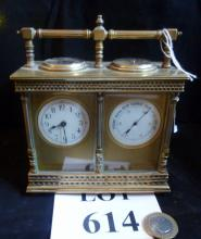 A 19c brass carriage clock with barometer and compass to top by R & Co (Richard & Co, Paris) c1900 est: £1,000-£1,500 (P2)