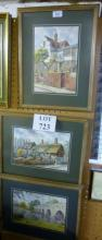 Three framed and glazed watercolour village scenes from Stratford on Avon to include 'A Dirty Duck Pub' and 'Anne Hathaway's Cottage' est: £40-£60