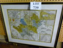 A framed and glazed map of Hertfordshire and surrounding towns est: £25-£45