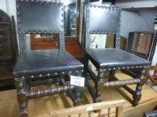 Five chairs - Two 18c oak chairs with leather seats & backs and three 19c matching chairs est: £80-£120
