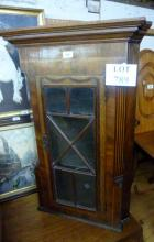 A Georgian mahogany inlaid corner cupboard of small proportions est: £50-£100