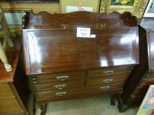 A 20c brass inlaid bureau of slim proportions with a fitted interior over drawers est: £80-£120