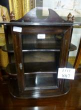 A 20c table top display case with single door and shelves either side est: £30-£40