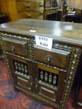 A late 19c Indian cabinet with two drawers and cupboards est: £40-£70