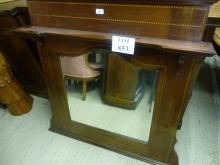 An Edwardian mahogany inlaid over mantel mirror in good condition est: £80-£120