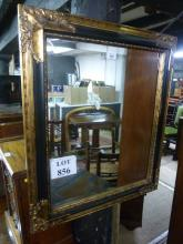 A late 20c gold and black wall mirror (75 x 65 cm approx) est: £20-£40