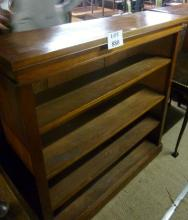 A late Victorian mahogany open bookcase with three adjustable shelves (slightly a/f) est: £40-£60