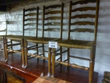 Three oak ladder back rush seated chairs and a stool est: £40-£60