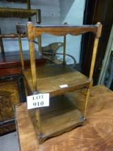 An Edwardian mahogany square whatnot with three shelves and a rosewood cross banded top est: £25-£40