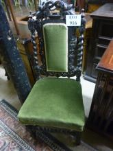 A pair of Victorian oak carved chairs upholstered in green est: £30-£50