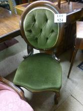 A set of six Victorian mahogany balloon back dining chairs upholstered in green est: £200-£400