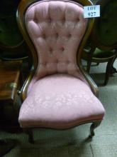 A Victorian style mahogany balloon back ladies chair upholstered in pink est: £50-£80