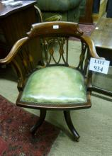 A very pretty Edwardian mahogany inlaid desk chair with green leather swivel seat  est: £180-£220