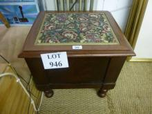 A 19c commode seat with needlework top now a magazine box or work box est: £20-£30