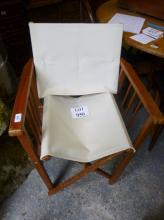 Three wooden folding chairs with cream material est: £30-£50