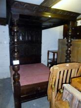 A late 17c and part 18c oak carved four poster bed in good condition (4' 6'' wide) and with base (will just need a new mattress) est: £1,200-£1,500