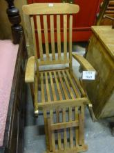 A late 20c wooden and brass folding steamer chair est: £40-£60