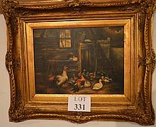 Alexander Koester (1864-1932) - A framed oil on board farmyard scene with turkey, peacock, cockerel and ducks signed lower right A Koester (30 x 40 cm approx) est: £1,000-£1,500