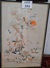 An oriental silk work study of birds and a tree est: £50-£80