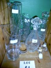 Five various jugs or decanters and various stoppers/swizzlers etc est: £25-£45 (B34)
