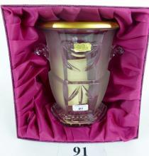 A heavy, good quality, Art Deco style Artisant de Lorraine glass champagne bucket with 24K gold rim, boxed est: £60-£100 (B31)