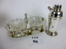 A Viner's plated cocktail-shaker; together with a chrome shot tray with glasses and bowls (c.1970's) est: £40-£60 (D3)