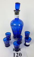 A blue and silvered glass liqueur set for six est: £20-£40 (B5)