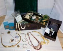 An old jewellery box containing a quantity of costume jewellery and gentleman's Seconda wristwatch boxed est: £50-£80