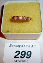 A 9ct gold ruby & diamond ring (size N) est: £80-£120