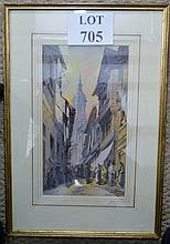 A framed and glazed 19th century watercolour street scene 'Fuentarabia' signed Charles Rousse lower right est: £50-£80