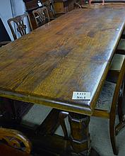 A large solid oak refectory dining table the base believed to have come from Robert Thompson's Mouseman Workshop seats 14 (10 ft long x 45 inches wide approx) est: £1,500-£2,000