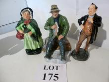 Three Royal Doulton figurines: Sairy Gamp HN1896; Pecksniff HN2098 and a good catch HN 2258 est:£50-£80 (O2)