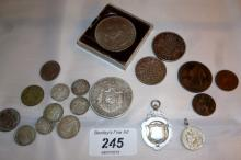 A silver fob Birmingham 1936, a Napoleon III French crown, various old silver 3d and other English money est: £15-£30