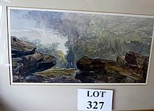 David Cox Snr (1783-1859) - A framed and glazed watercolour rocky landscape label verso Christies (19 x 39 cm approx) (Attributed by Andrew Wyld some years ago, but no paperwork available) est: £700-£900