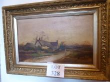 A late 19c framed oil on canvas figure on a path with cottage signed A A Glendening 97 (27 x 45 cm approx) est: £50-£80