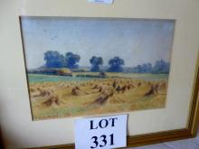 E Herbert 19/20c - A framed and glazed watercolour 'Harvester's' signed lower left dated 1909 (17 x 25 cm approx) est: £30-£40