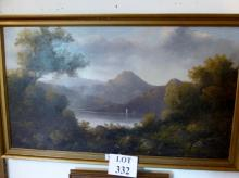 An early 20c oil on canvas continental landscape scene with lake (45 x 80 cm approx) est: £80-£120