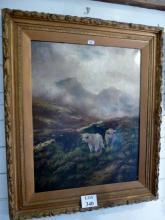 Frank Bennett (19c British) - A large gilt framed oil on canvas Scottish Moors with Highland Cattle signed lower left Frank Bennett (90 x 70 cm approx) est: £200-£400