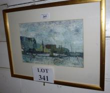 Fuest Robert - A framed and glazed oil on paper Newhaven Harbour scene signed Fuest (18 x 28 cm approx) est: £50-£80
