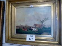 A 19c gilt framed oil on canvas landscape scene with cattle in the foreground unsigned (32 x 43 cm approx) est: £200-£300
