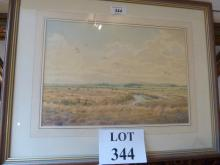 Clifford Knight 20c - A framed and glazed watercolour Blakeney Marshes, Norfolk with geese in flight signed C Knight lower left (23 x 33 cm approx) est: £30-£50