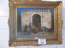 Margaret Murrey Cookesley 19c - A framed oil on canvas Arabs by an archway signed lower right est: £900-£1,200
