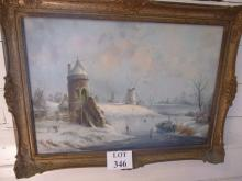 Dutch - A framed oil on canvas snowy scene with figures on the ice and windmills beyond signed lower right est: £280-£320