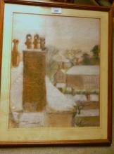 Kathleen Shackleton (1884-1961) - A framed and glazed Gouache 'Chichester Chimney's' signed Kathleen Shackleton 1954 lower left (Kathleen Shackleton was the sister of the famous explorer Sir Ernest Shackleton est: £600-£800
